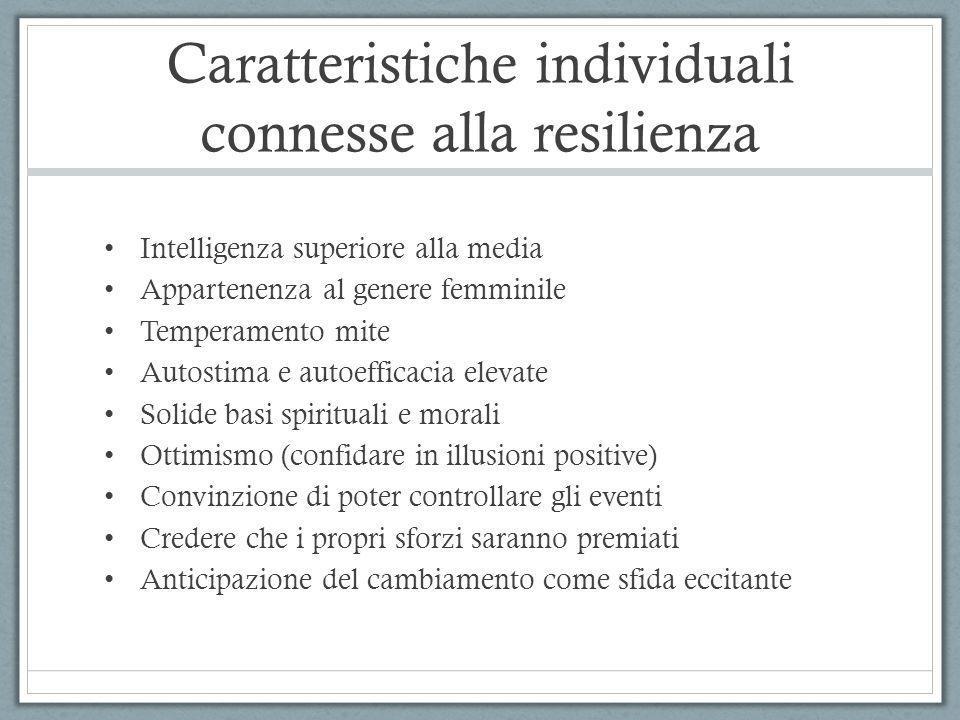 Caratteristiche individuali connesse alla resilienza Intelligenza superiore alla media Appartenenza al genere femminile Temperamento mite Autostima e