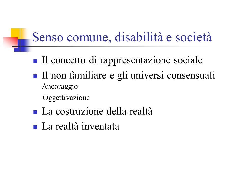 Senso comune, disabilità e società Il concetto di rappresentazione sociale Il non familiare e gli universi consensuali Ancoraggio Oggettivazione La co