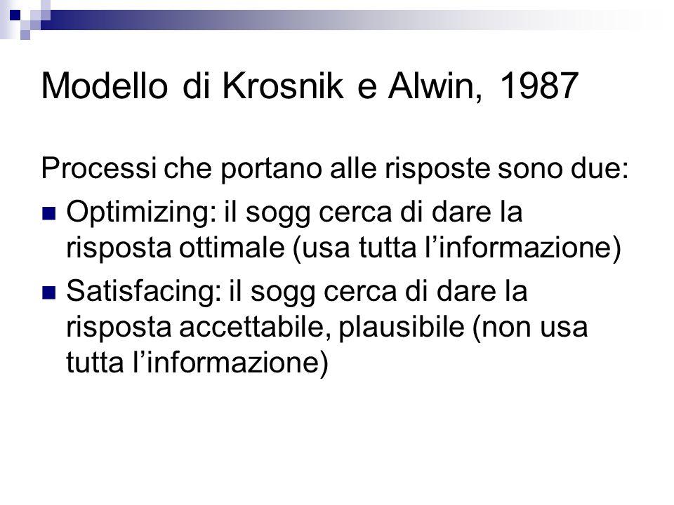 Modello di Krosnik e Alwin, 1987 Processi che portano alle risposte sono due: Optimizing: il sogg cerca di dare la risposta ottimale (usa tutta linformazione) Satisfacing: il sogg cerca di dare la risposta accettabile, plausibile (non usa tutta linformazione)