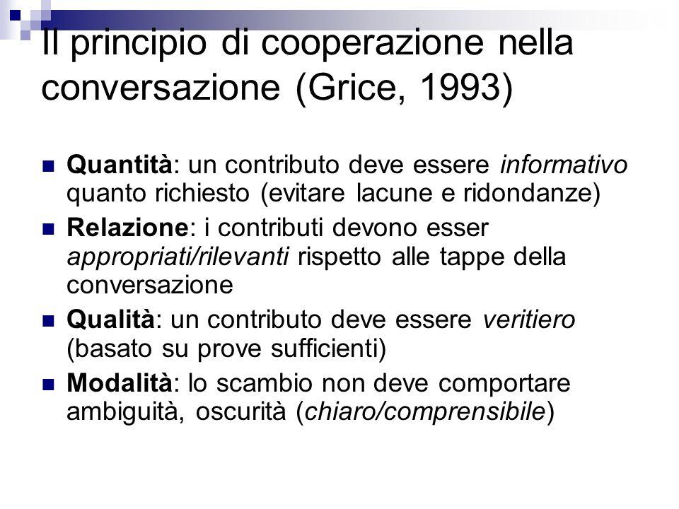 Il principio di cooperazione nella conversazione (Grice, 1993) Quantità: un contributo deve essere informativo quanto richiesto (evitare lacune e ridondanze) Relazione: i contributi devono esser appropriati/rilevanti rispetto alle tappe della conversazione Qualità: un contributo deve essere veritiero (basato su prove sufficienti) Modalità: lo scambio non deve comportare ambiguità, oscurità (chiaro/comprensibile)