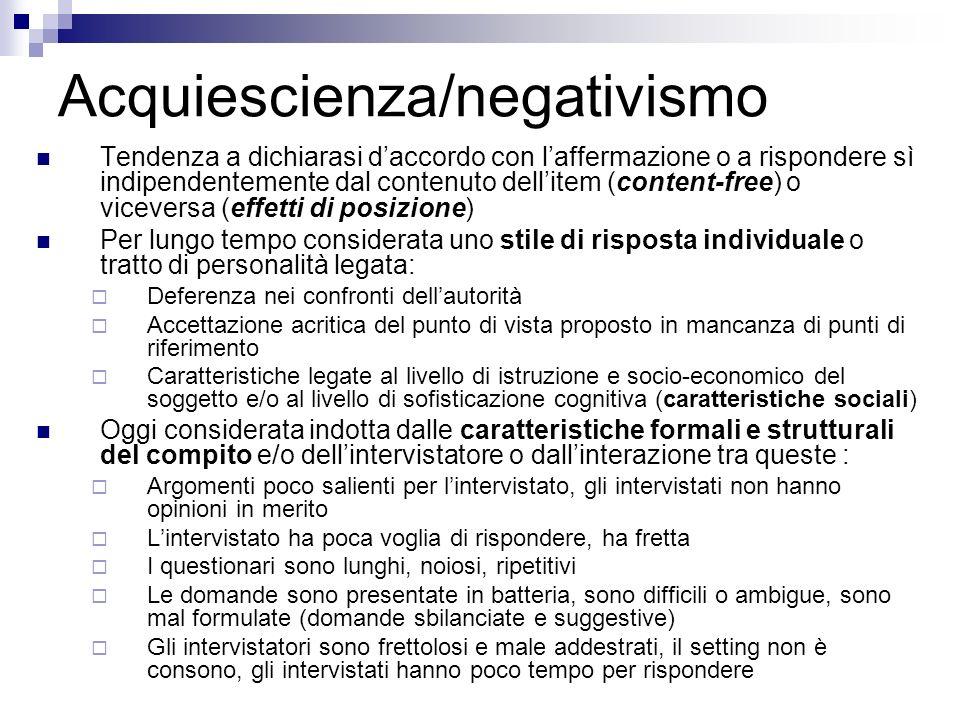 Acquiescienza/negativismo Tendenza a dichiarasi daccordo con laffermazione o a rispondere sì indipendentemente dal contenuto dellitem (content-free) o