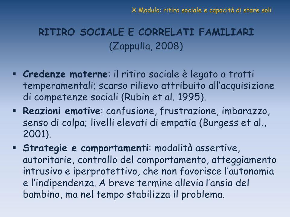 X Modulo: ritiro sociale e capacità di stare soli RITIRO SOCIALE E CORRELATI FAMILIARI (Zappulla, 2008) Credenze materne: il ritiro sociale è legato a