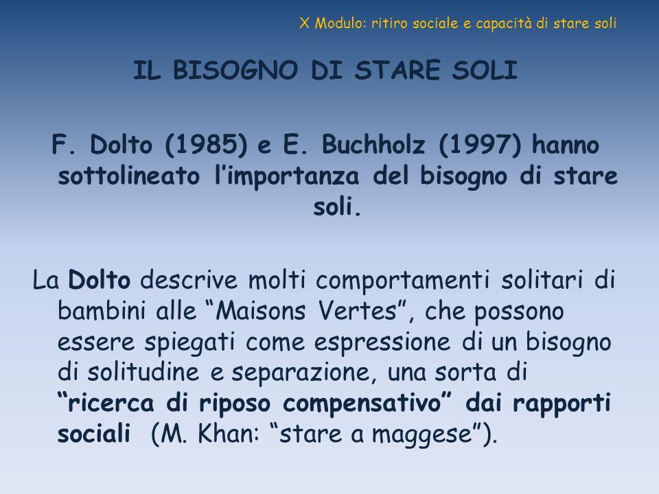 X Modulo: ritiro sociale e capacità di stare soli IL BISOGNO DI STARE SOLI F. Dolto (1985) e E. Buchholz (1997) hanno sottolineato limportanza del bis