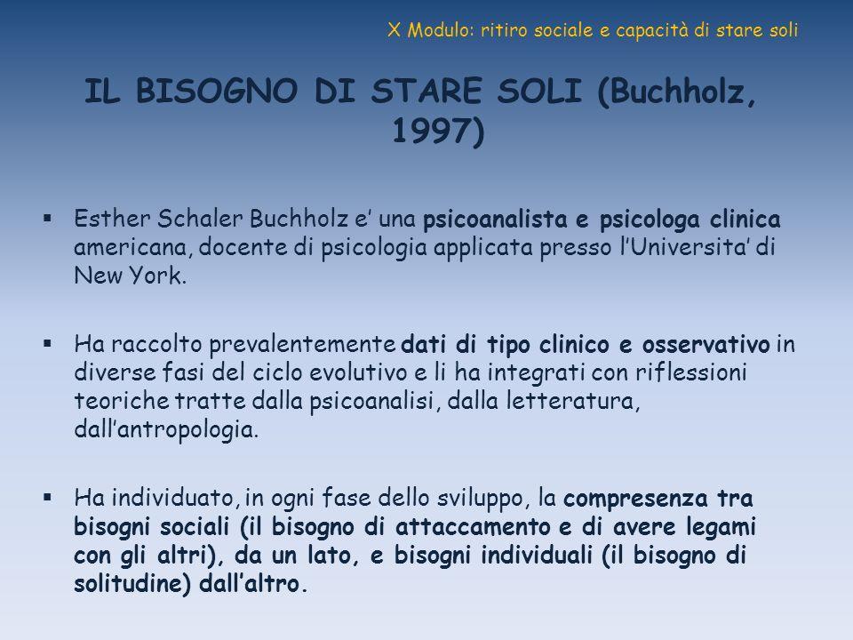X Modulo: ritiro sociale e capacità di stare soli IL BISOGNO DI STARE SOLI (Buchholz, 1997) Esther Schaler Buchholz e una psicoanalista e psicologa cl