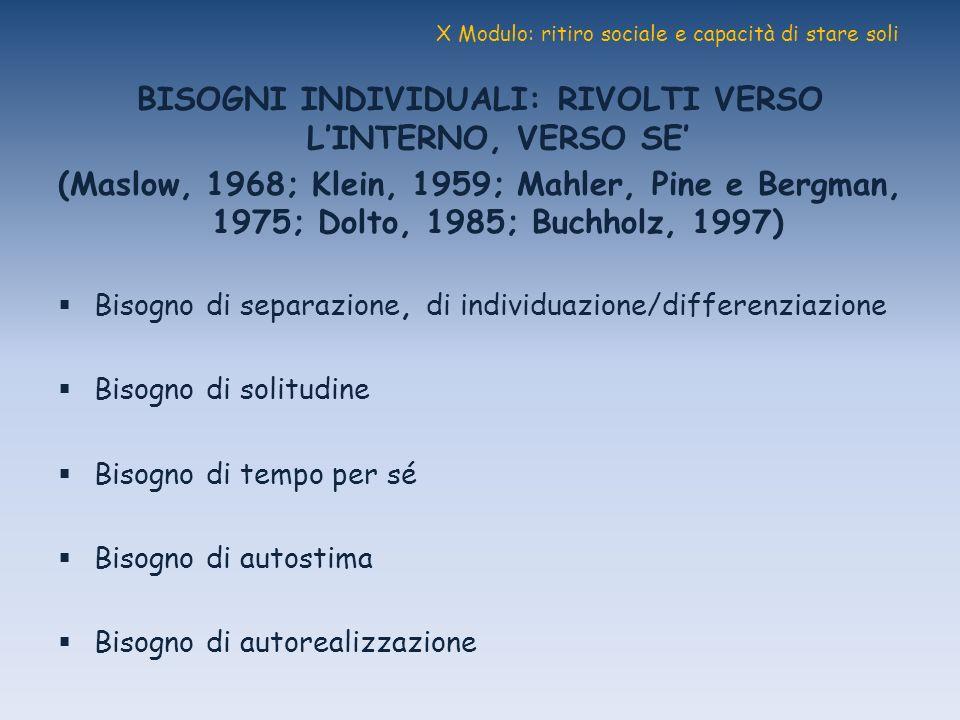 X Modulo: ritiro sociale e capacità di stare soli BISOGNI INDIVIDUALI: RIVOLTI VERSO LINTERNO, VERSO SE (Maslow, 1968; Klein, 1959; Mahler, Pine e Ber