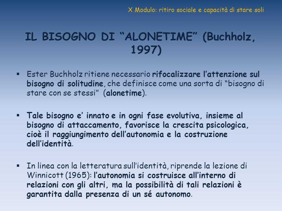 X Modulo: ritiro sociale e capacità di stare soli IL BISOGNO DI ALONETIME (Buchholz, 1997) Ester Buchholz ritiene necessario rifocalizzare lattenzione