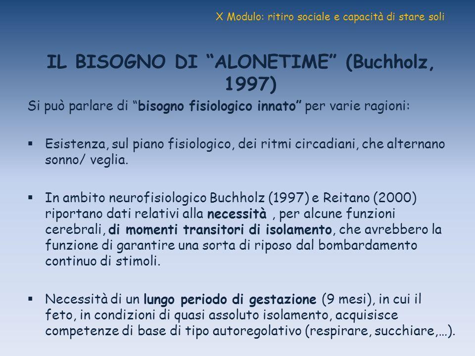 X Modulo: ritiro sociale e capacità di stare soli IL BISOGNO DI ALONETIME (Buchholz, 1997) Si può parlare di bisogno fisiologico innato per varie ragi