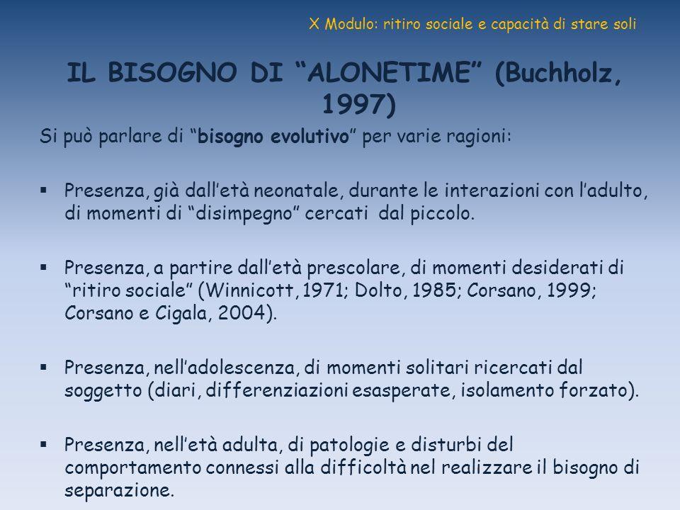 X Modulo: ritiro sociale e capacità di stare soli IL BISOGNO DI ALONETIME (Buchholz, 1997) Si può parlare di bisogno evolutivo per varie ragioni: Pres