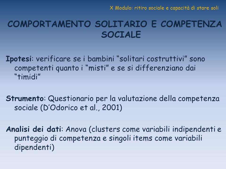 X Modulo: ritiro sociale e capacità di stare soli COMPORTAMENTO SOLITARIO E COMPETENZA SOCIALE Ipotesi: verificare se i bambini solitari costruttivi s
