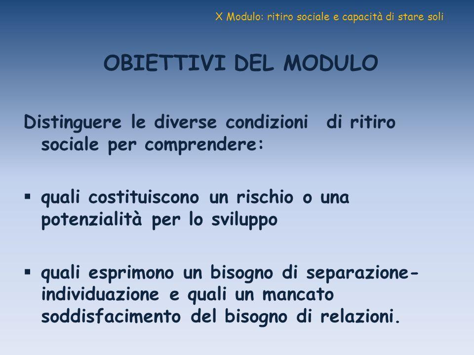 X Modulo: ritiro sociale e capacità di stare soli OBIETTIVI DEL MODULO Distinguere le diverse condizioni di ritiro sociale per comprendere: quali cost