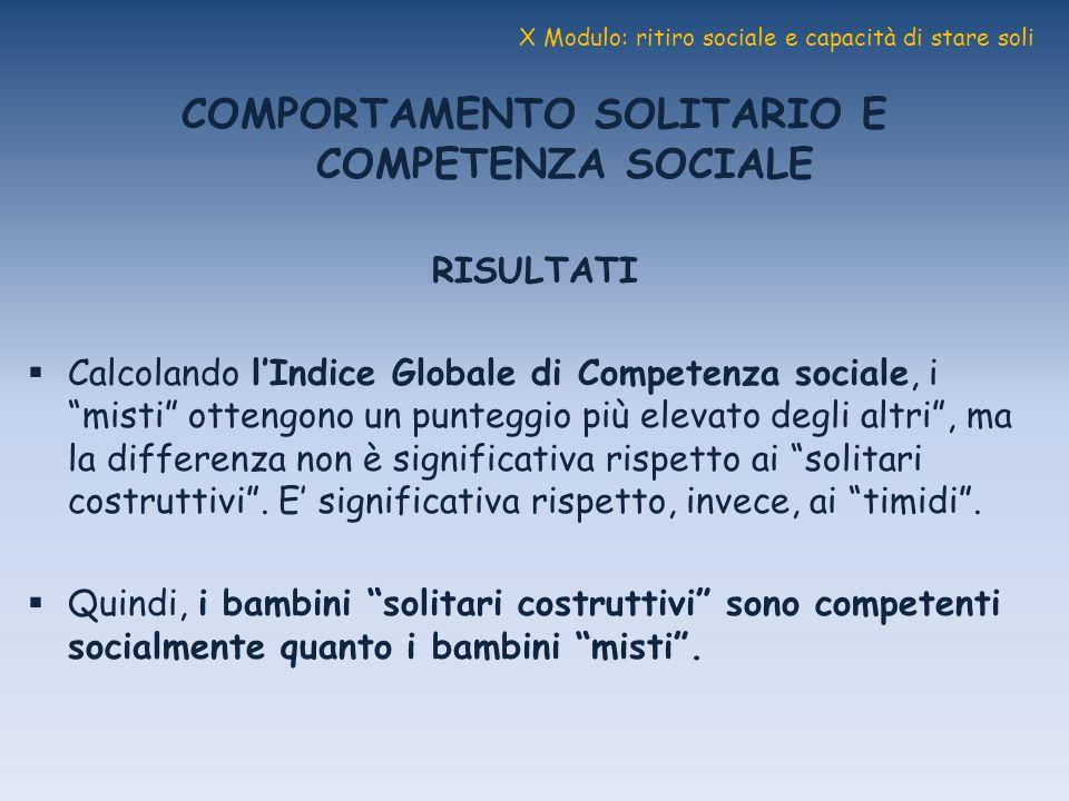 X Modulo: ritiro sociale e capacità di stare soli COMPORTAMENTO SOLITARIO E COMPETENZA SOCIALE RISULTATI Calcolando lIndice Globale di Competenza soci