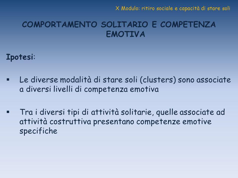 X Modulo: ritiro sociale e capacità di stare soli COMPORTAMENTO SOLITARIO E COMPETENZA EMOTIVA Ipotesi: Le diverse modalità di stare soli (clusters) s