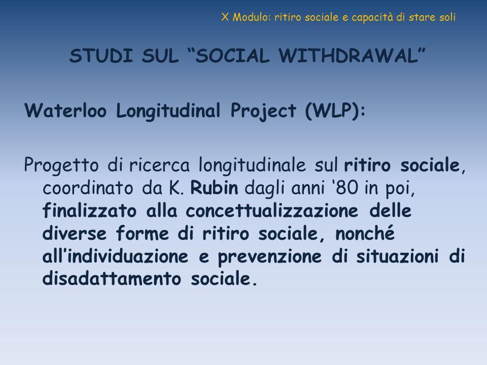 X Modulo: ritiro sociale e capacità di stare soli STUDI SUL SOCIAL WITHDRAWAL Waterloo Longitudinal Project (WLP): Progetto di ricerca longitudinale s