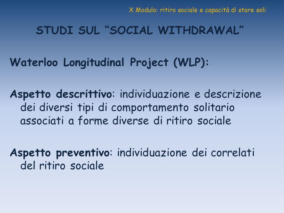X Modulo: ritiro sociale e capacità di stare soli STUDI SUL SOCIAL WITHDRAWAL Waterloo Longitudinal Project (WLP): Aspetto descrittivo: individuazione