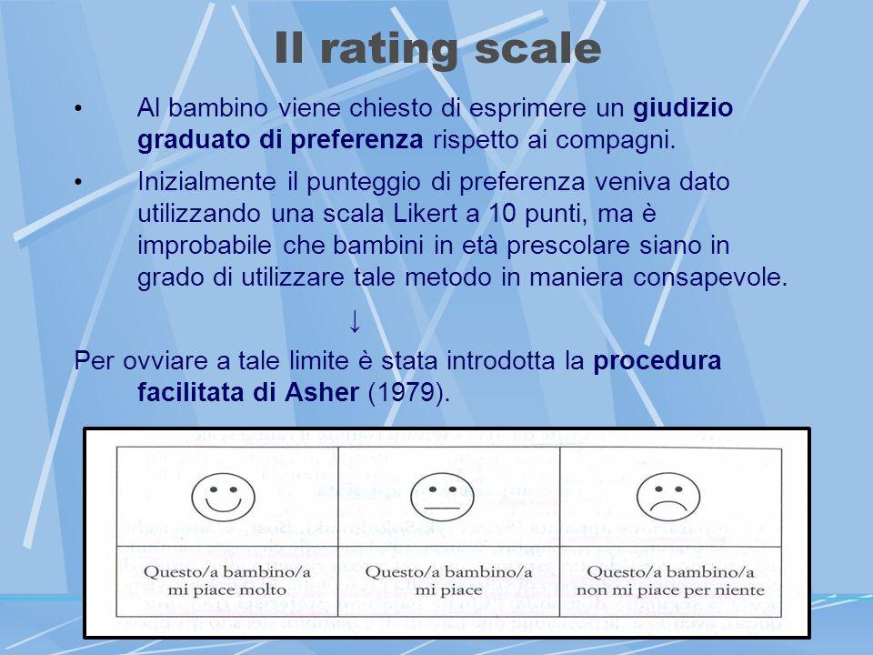 Il rating scale Al bambino viene chiesto di esprimere un giudizio graduato di preferenza rispetto ai compagni.