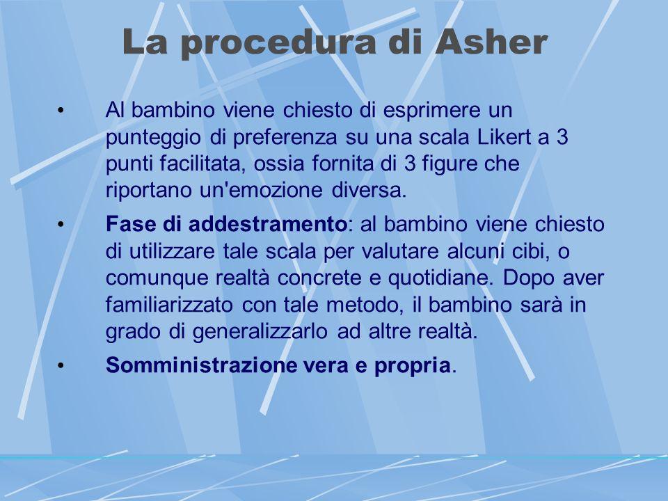 La procedura di Asher Al bambino viene chiesto di esprimere un punteggio di preferenza su una scala Likert a 3 punti facilitata, ossia fornita di 3 figure che riportano un emozione diversa.