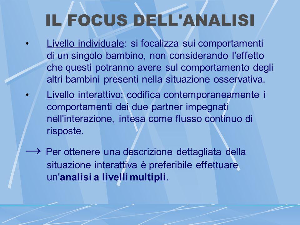 IL FOCUS DELL ANALISI Livello individuale: si focalizza sui comportamenti di un singolo bambino, non considerando l effetto che questi potranno avere sul comportamento degli altri bambini presenti nella situazione osservativa.