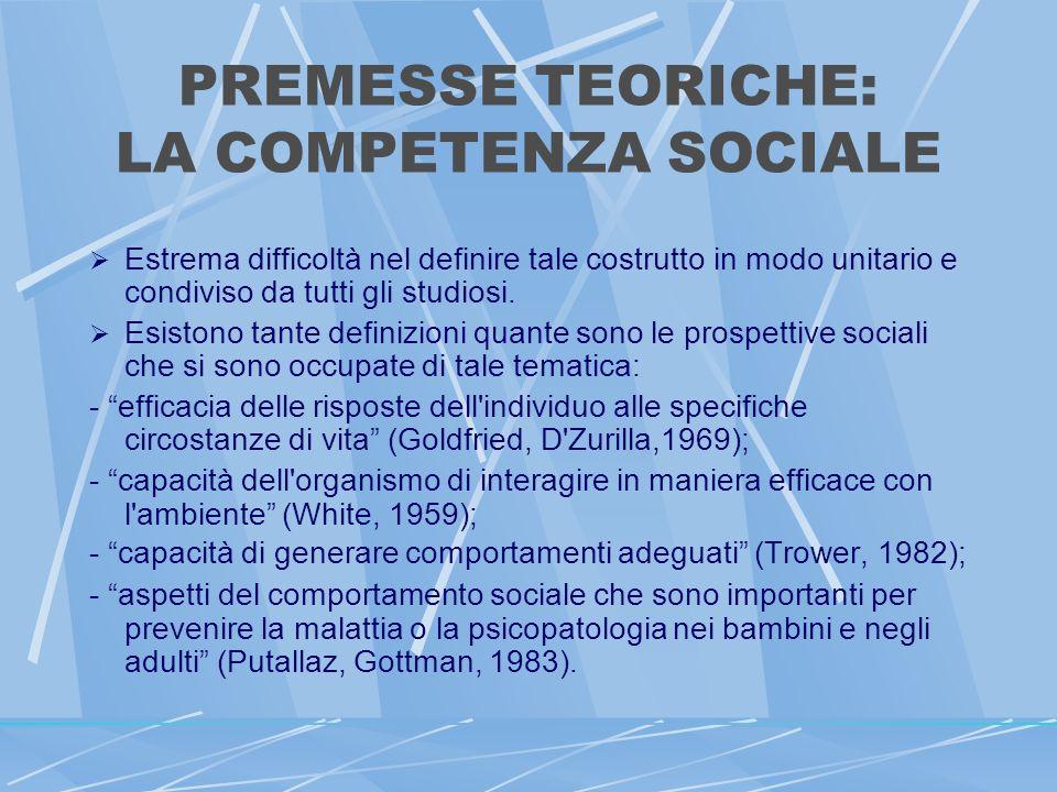 PREMESSE TEORICHE: LA COMPETENZA SOCIALE Estrema difficoltà nel definire tale costrutto in modo unitario e condiviso da tutti gli studiosi.
