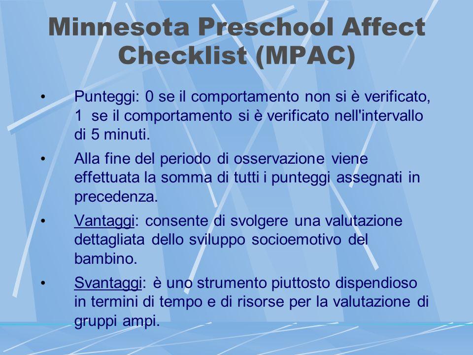Minnesota Preschool Affect Checklist (MPAC) Punteggi: 0 se il comportamento non si è verificato, 1 se il comportamento si è verificato nell intervallo di 5 minuti.