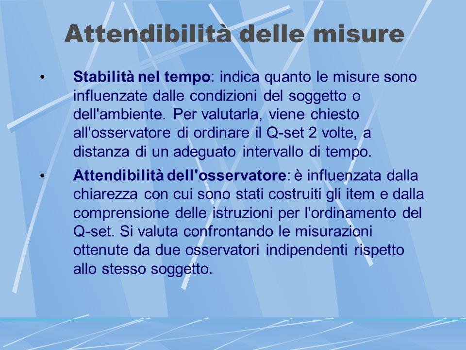 Attendibilità delle misure Stabilità nel tempo: indica quanto le misure sono influenzate dalle condizioni del soggetto o dell ambiente.
