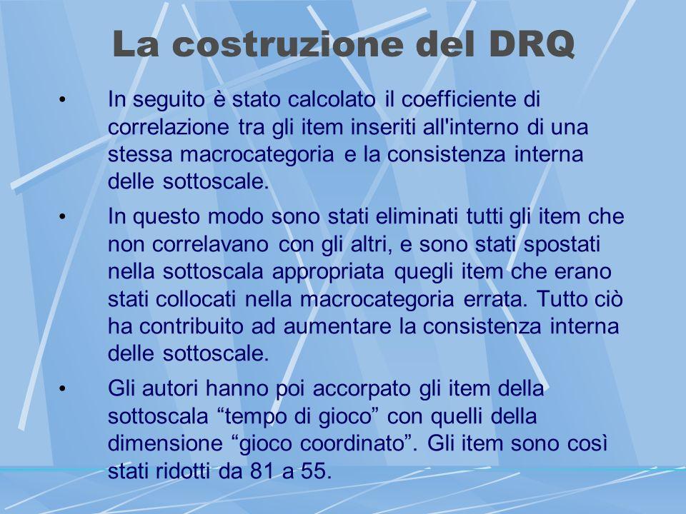 La costruzione del DRQ In seguito è stato calcolato il coefficiente di correlazione tra gli item inseriti all interno di una stessa macrocategoria e la consistenza interna delle sottoscale.