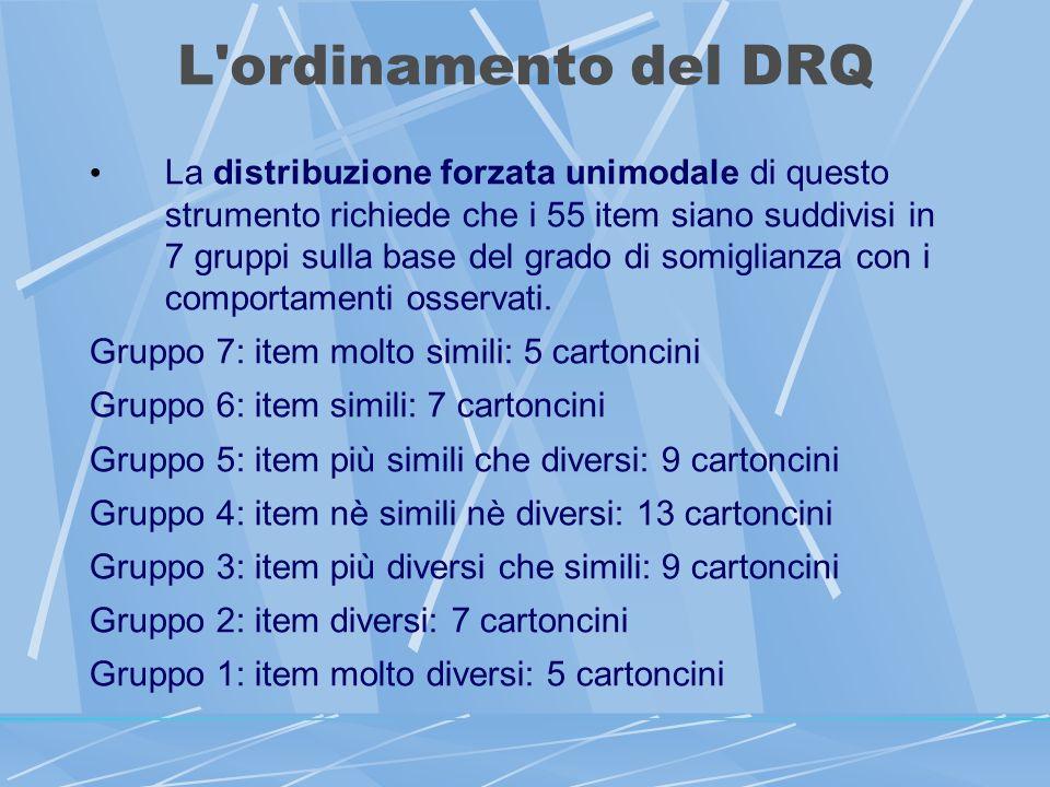 L ordinamento del DRQ La distribuzione forzata unimodale di questo strumento richiede che i 55 item siano suddivisi in 7 gruppi sulla base del grado di somiglianza con i comportamenti osservati.