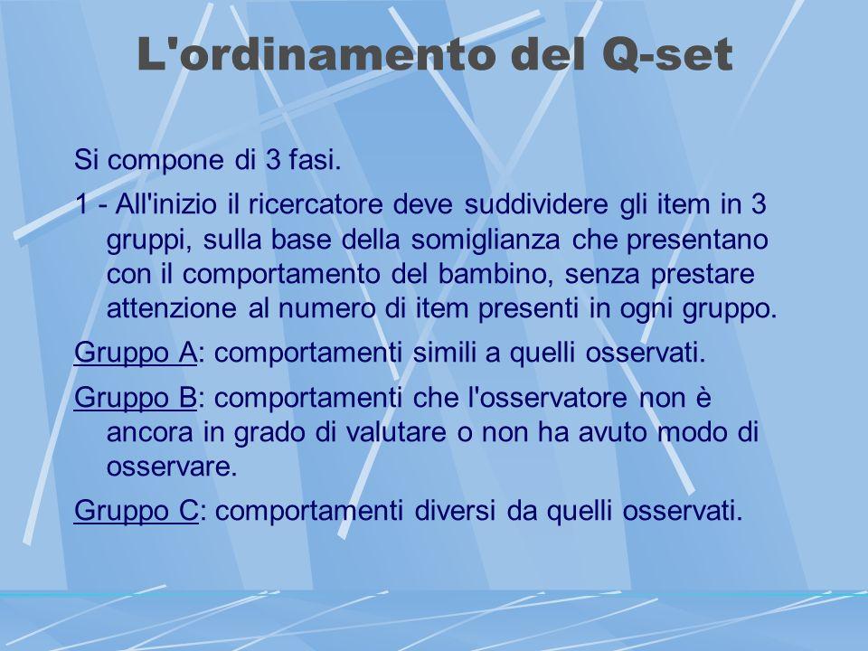 L ordinamento del Q-set Si compone di 3 fasi.