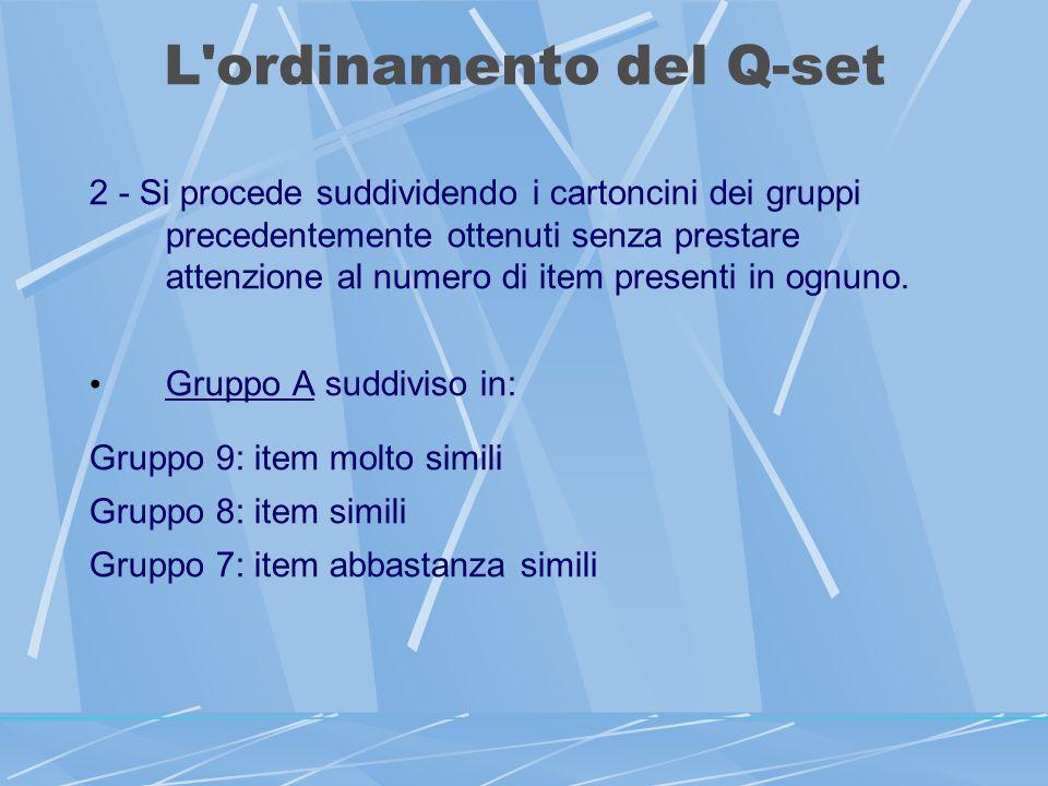 L ordinamento del Q-set 2 - Si procede suddividendo i cartoncini dei gruppi precedentemente ottenuti senza prestare attenzione al numero di item presenti in ognuno.