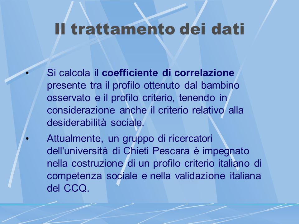 Il trattamento dei dati Si calcola il coefficiente di correlazione presente tra il profilo ottenuto dal bambino osservato e il profilo criterio, tenendo in considerazione anche il criterio relativo alla desiderabilità sociale.