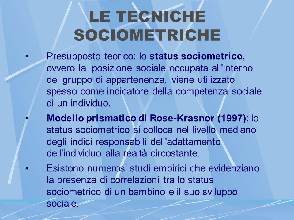 LE TECNICHE SOCIOMETRICHE Presupposto teorico: lo status sociometrico, ovvero la posizione sociale occupata all interno del gruppo di appartenenza, viene utilizzato spesso come indicatore della competenza sociale di un individuo.