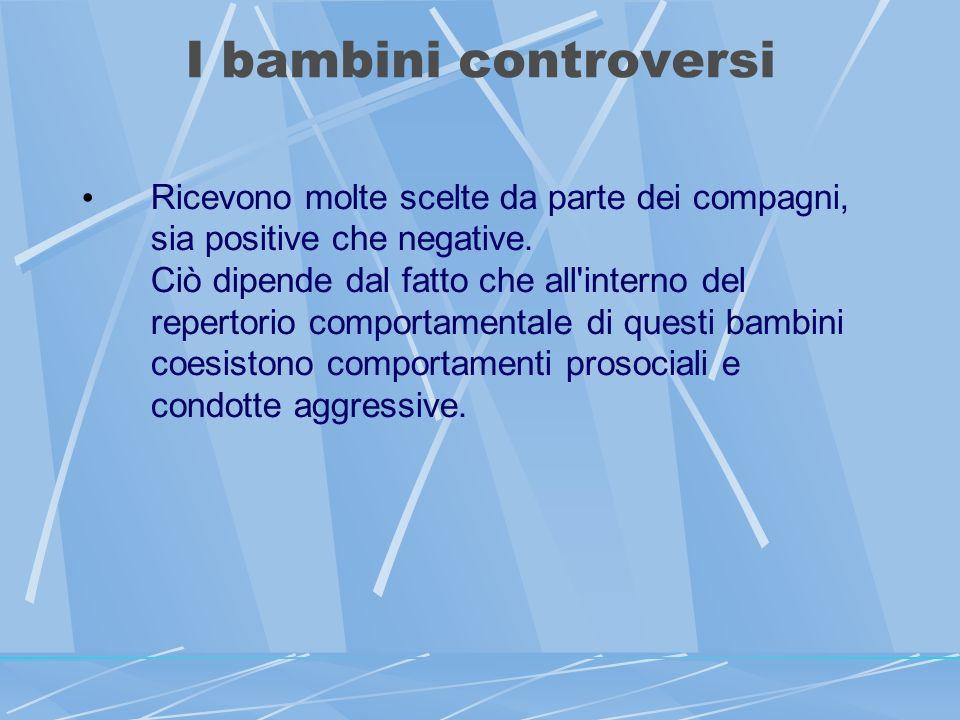I bambini controversi Ricevono molte scelte da parte dei compagni, sia positive che negative.