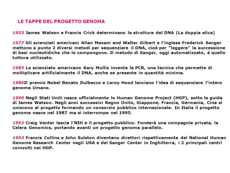 1953 James Watson e Francis Crick determinano la struttura del DNA (La doppia elica) 1977 Gli scienziati americani Allan Maxam and Walter Gilbert e l inglese Frederick Sanger mettono a punto 2 diversi metodi per sequenziare il DNA, cioè per leggere la successione di basi nucleotidiche che lo compongono.
