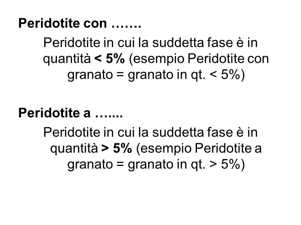 Peridotite con ……. Peridotite in cui la suddetta fase è in quantità < 5% (esempio Peridotite con granato = granato in qt. < 5%) Peridotite a ….... Per