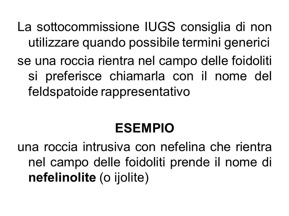 La sottocommissione IUGS consiglia di non utilizzare quando possibile termini generici se una roccia rientra nel campo delle foidoliti si preferisce c