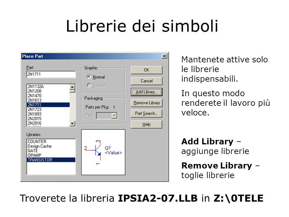 Librerie dei simboli Mantenete attive solo le librerie indispensabili.