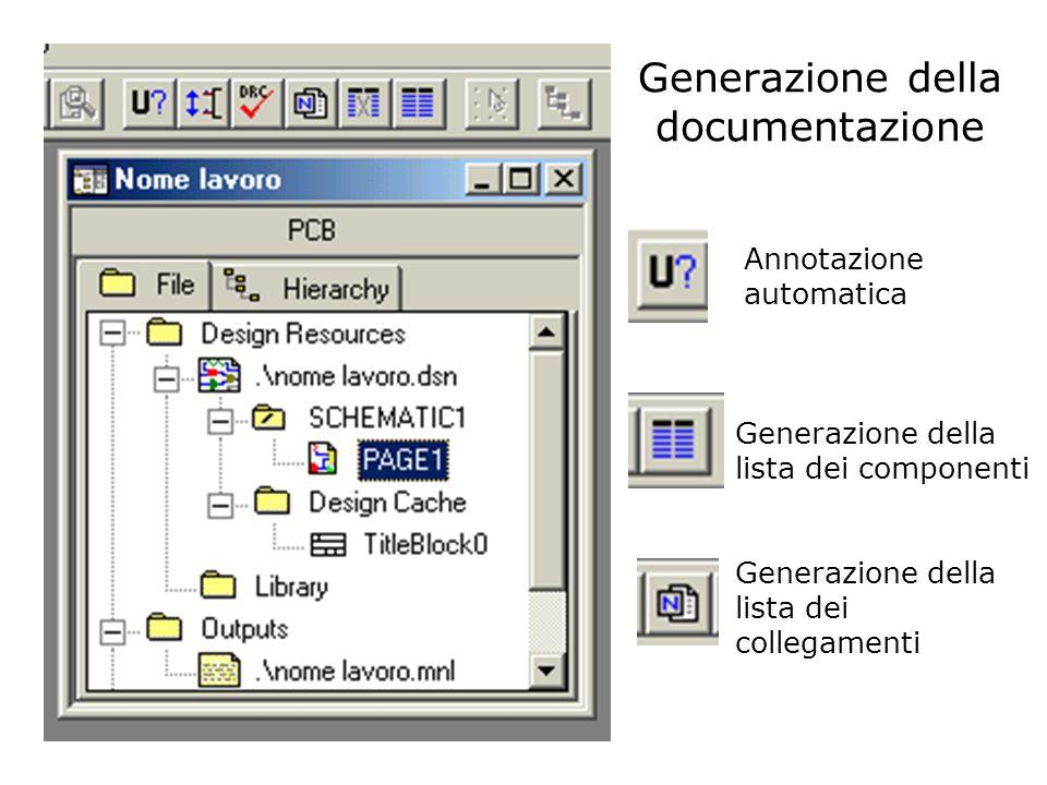 Generazione della documentazione Annotazione automatica Generazione della lista dei componenti Generazione della lista dei collegamenti