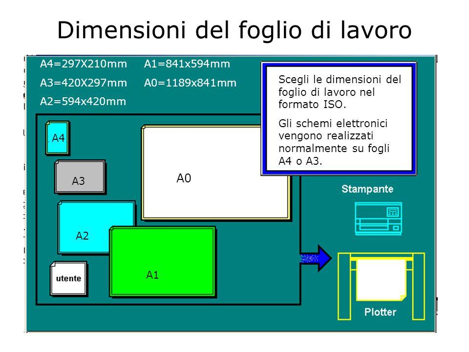 Dimensioni del foglio di lavoro Scegli le dimensioni del foglio di lavoro nel formato ISO.