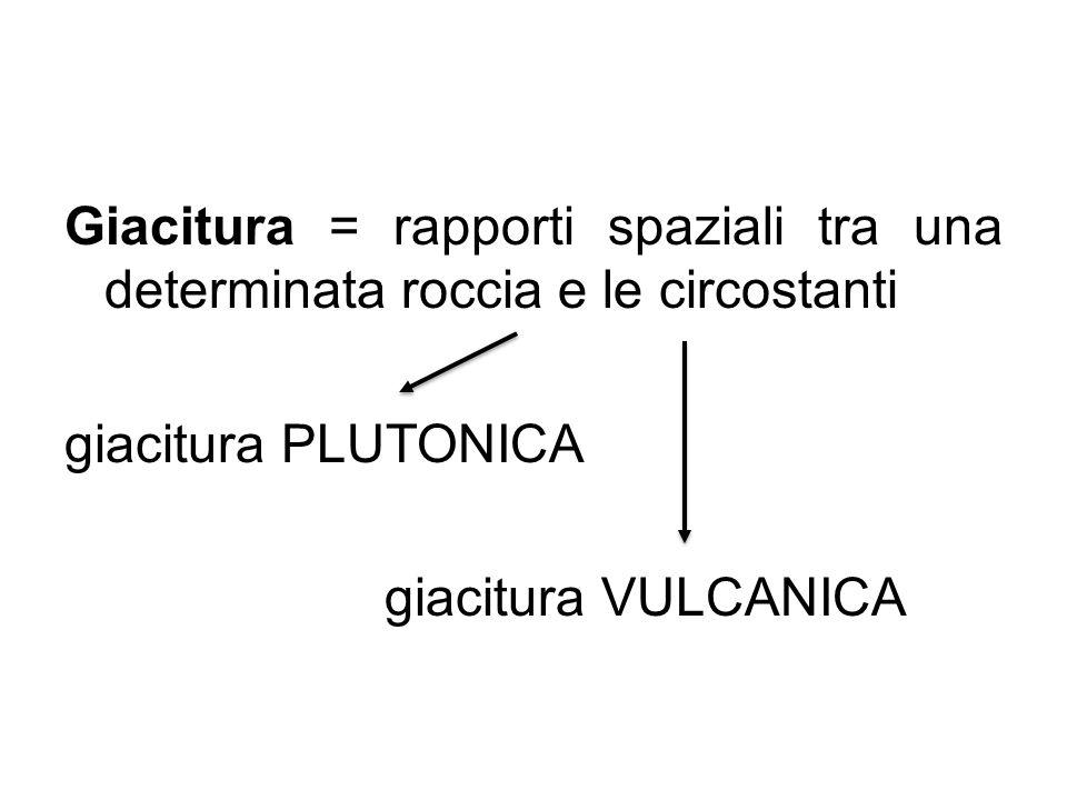 Giacitura = rapporti spaziali tra una determinata roccia e le circostanti giacitura PLUTONICA giacitura VULCANICA