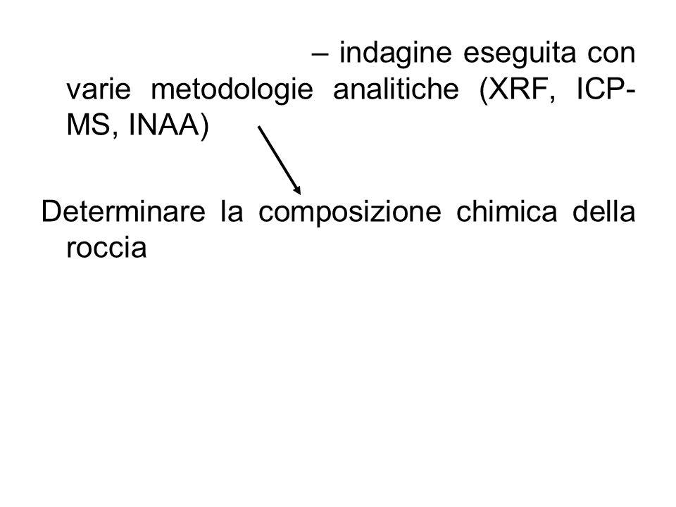 ANALISI CHIMICA – indagine eseguita con varie metodologie analitiche (XRF, ICP- MS, INAA) Determinare la composizione chimica della roccia Elementi maggiori Elementi Minori Elementi in traccia