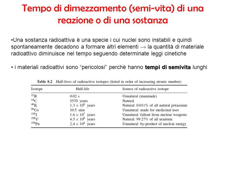 Tempo di dimezzamento (semi-vita) di una reazione o di una sostanza Una sostanza radioattiva è una specie i cui nuclei sono instabili e quindi spontan