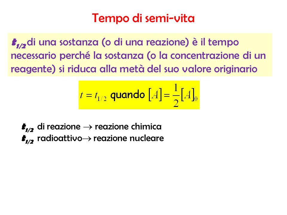 Tempo di semi-vita t 1/2 di una sostanza (o di una reazione) è il tempo necessario perché la sostanza (o la concentrazione di un reagente) si riduca a