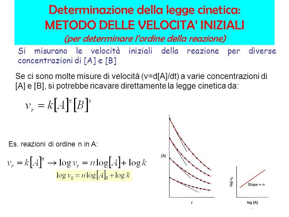 Determinazione della legge cinetica: METODO DELLE VELOCITA INIZIALI (per determinare lordine della reazione) Se ci sono molte misure di velocità (v=d[A]/dt) a varie concentrazioni di [A] e [B], si potrebbe ricavare direttamente la legge cinetica da: Es.