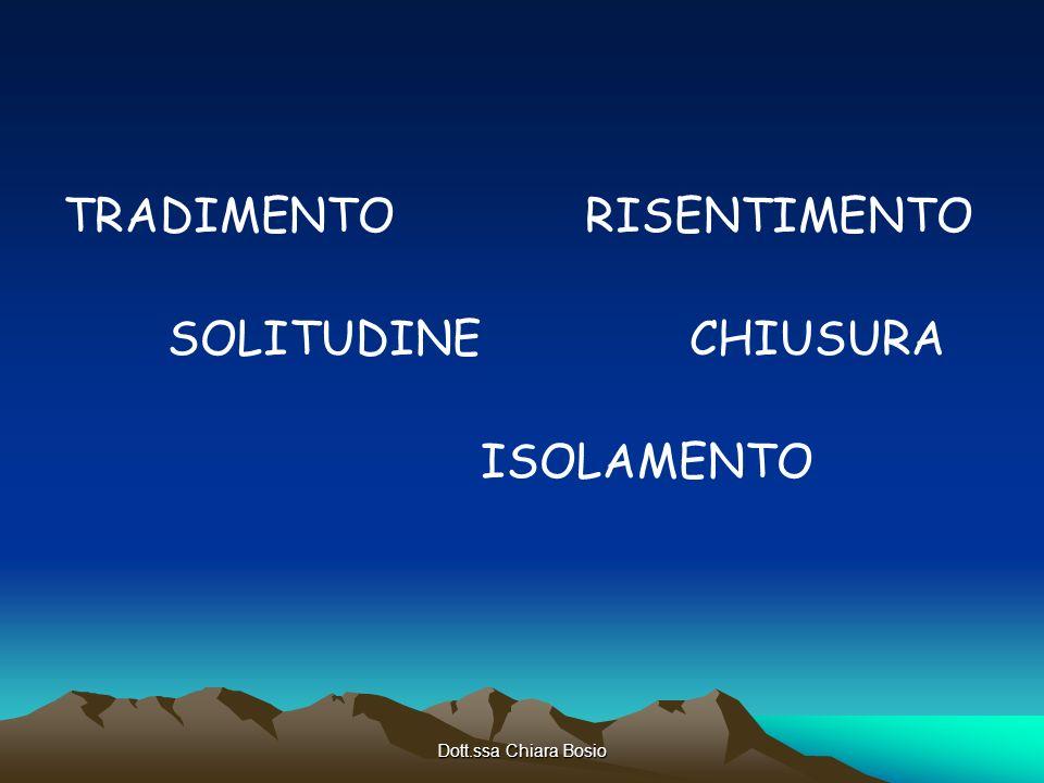 Dott.ssa Chiara Bosio TRADIMENTORISENTIMENTO SOLITUDINECHIUSURA ISOLAMENTO