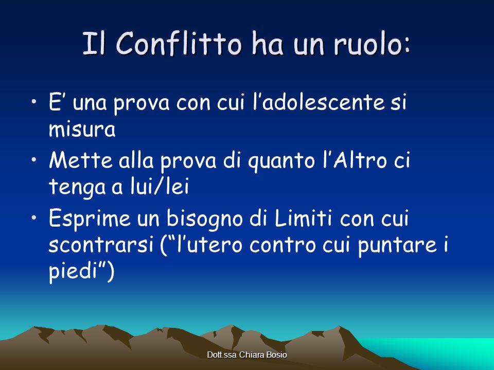 Dott.ssa Chiara Bosio Il Conflitto ha un ruolo: E una prova con cui ladolescente si misura Mette alla prova di quanto lAltro ci tenga a lui/lei Esprim