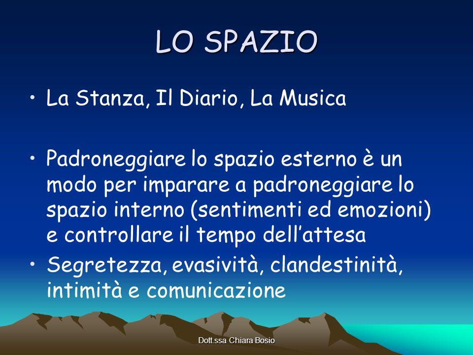 Dott.ssa Chiara Bosio LO SPAZIO La Stanza, Il Diario, La Musica Padroneggiare lo spazio esterno è un modo per imparare a padroneggiare lo spazio inter