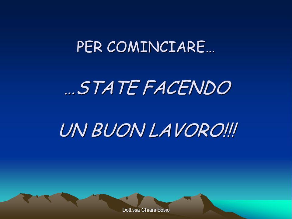 Dott.ssa Chiara Bosio PER COMINCIARE… …STATE FACENDO UN BUON LAVORO!!!