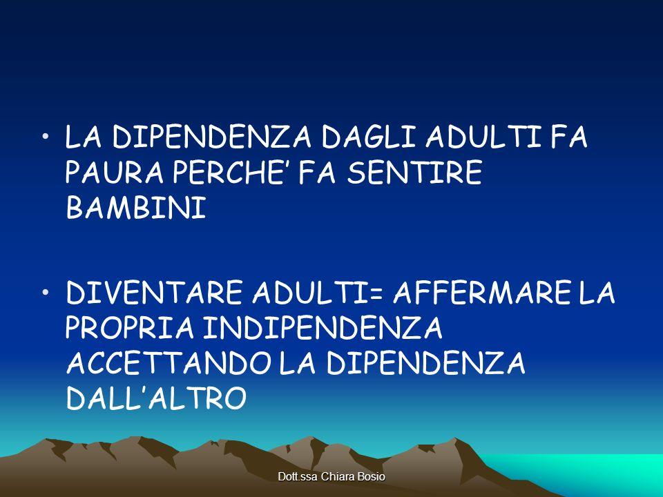 Dott.ssa Chiara Bosio LA DIPENDENZA DAGLI ADULTI FA PAURA PERCHE FA SENTIRE BAMBINI DIVENTARE ADULTI= AFFERMARE LA PROPRIA INDIPENDENZA ACCETTANDO LA