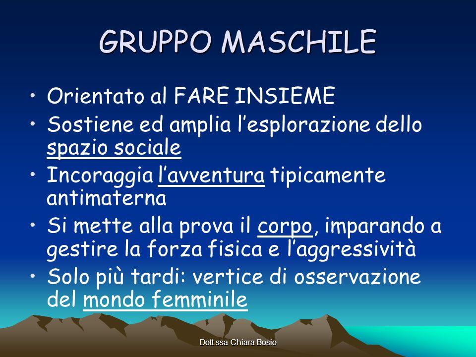 Dott.ssa Chiara Bosio GRUPPO MASCHILE Orientato al FARE INSIEME Sostiene ed amplia lesplorazione dello spazio sociale Incoraggia lavventura tipicament