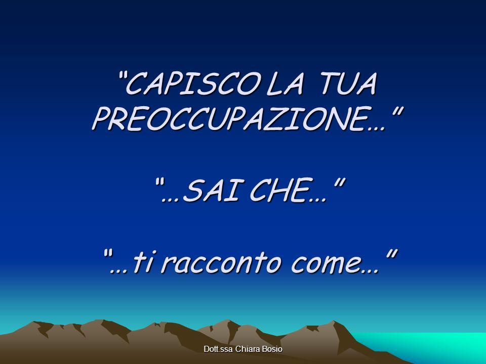 Dott.ssa Chiara Bosio CAPISCO LA TUA PREOCCUPAZIONE… …SAI CHE… …ti racconto come…