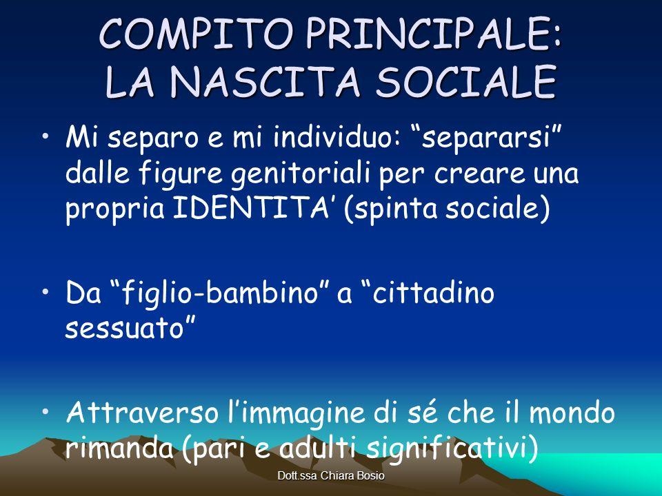 Dott.ssa Chiara Bosio COMPITO PRINCIPALE: LA NASCITA SOCIALE Mi separo e mi individuo: separarsi dalle figure genitoriali per creare una propria IDENT